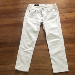 White jcrew cropped matchstick jeans